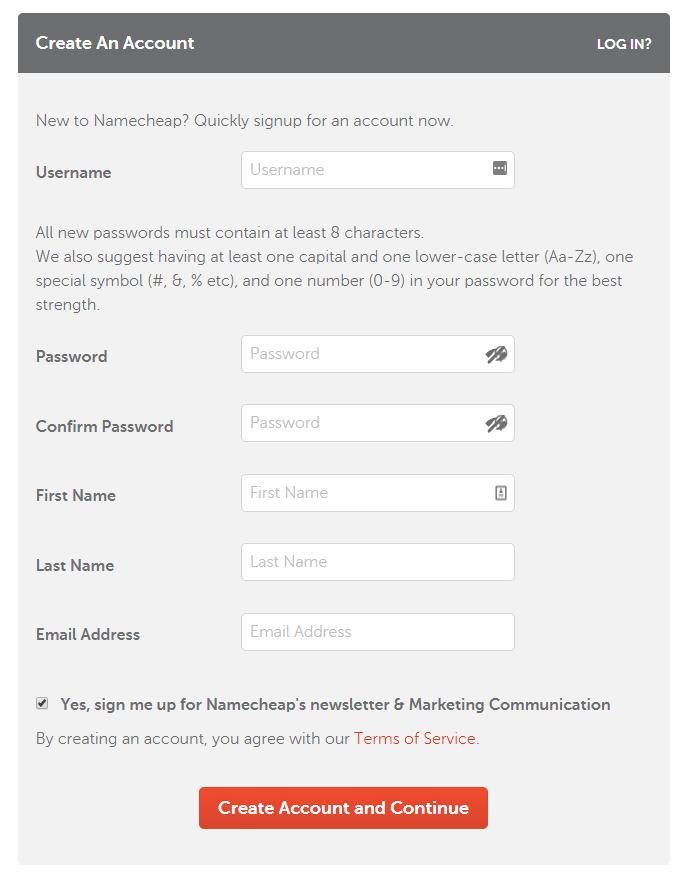 đăng ký tài khoản namecheap