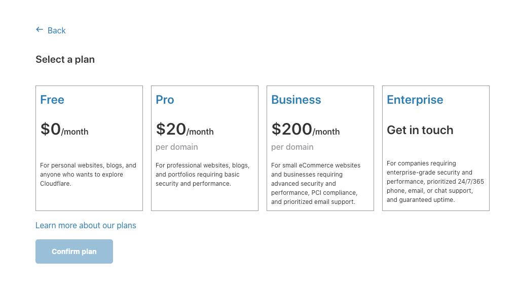 Chọn gói dịch vụ cloudflare