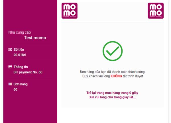 Plugin tích hợp thanh toán Momo cho WooCommerce 2