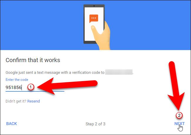Nhập mã xác mình vào màn hình Confirm that it works